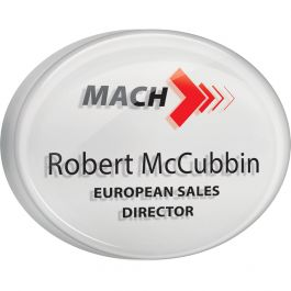 Acrylic name badges with clear dome finish