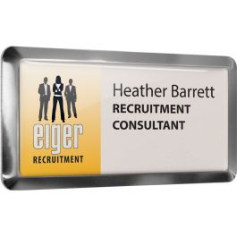 Metal framed name badges with clear dome finish