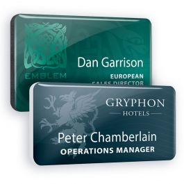 Plastic name badges with clear dome finish