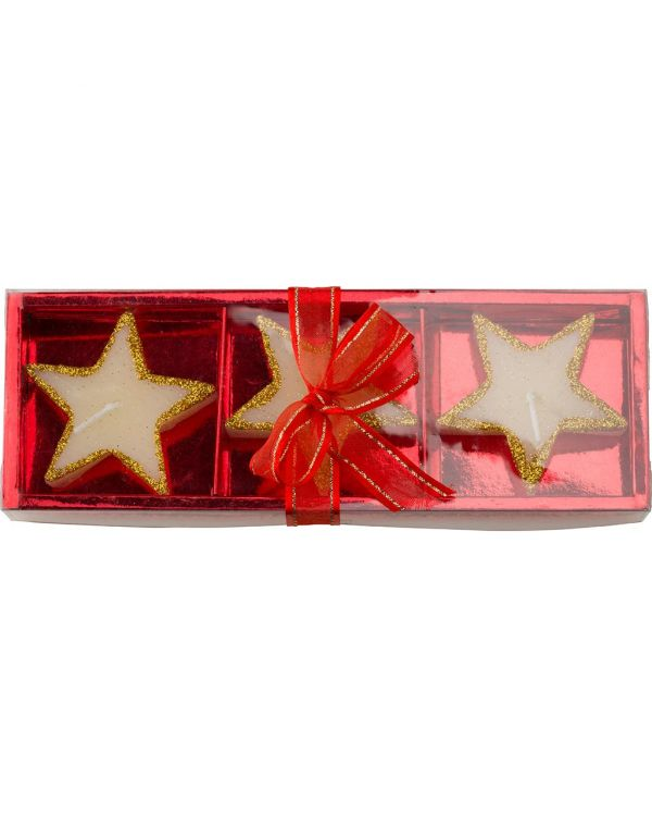 Three Star-Shaped Candles