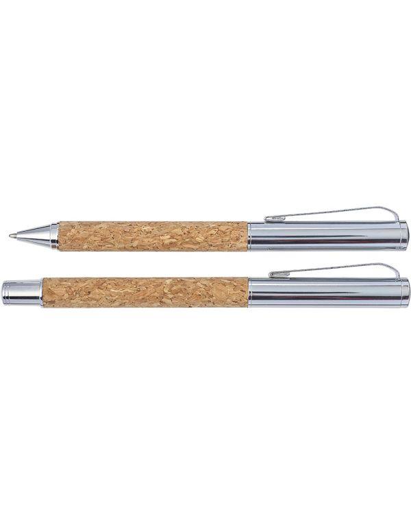 Cork Writing Set With A Ballpen And Roller Pen