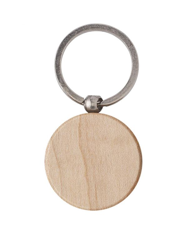 Round Wooden Key Holder With Metal Ring