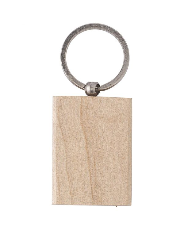 Rectangular Wooden Key Holder With Metal Ring