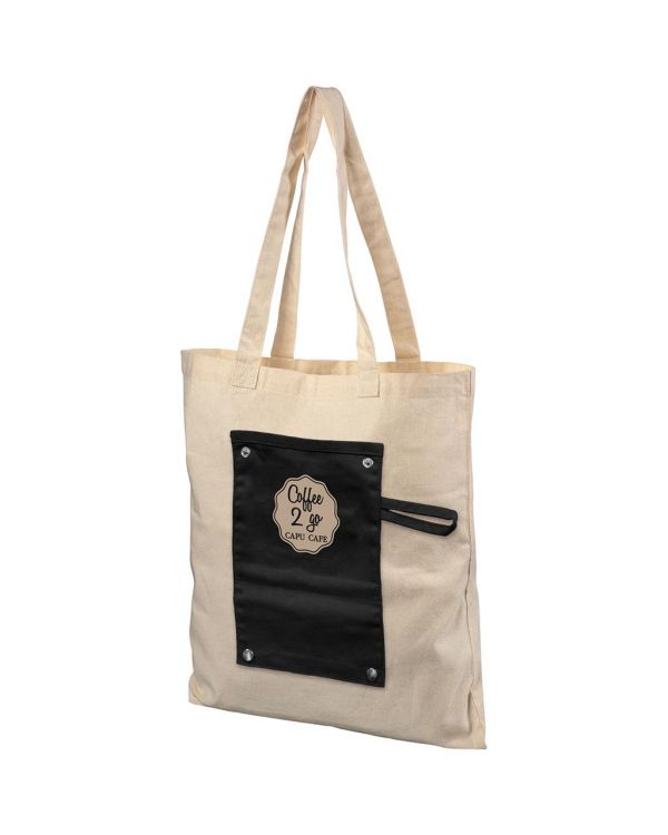 Snap 180 g/sq m Roll-Up Buttoned Cotton Tote Bag