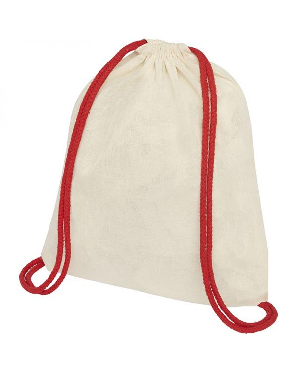 Oregon 100 g/sq m Cotton Drawstring Backpack With Coloured Cords