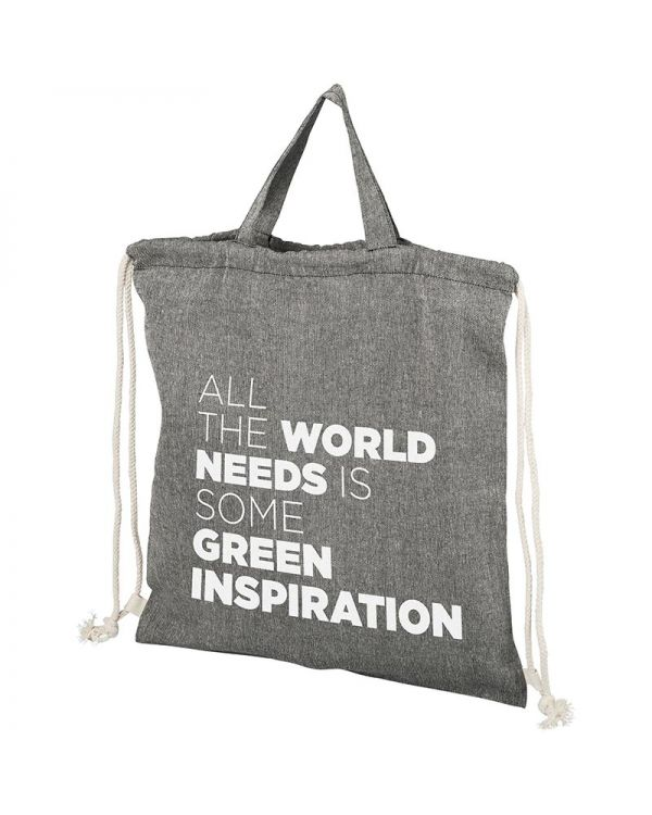 Be Inspired 150 g/sq m Recycled Cotton Drawstring Backpack