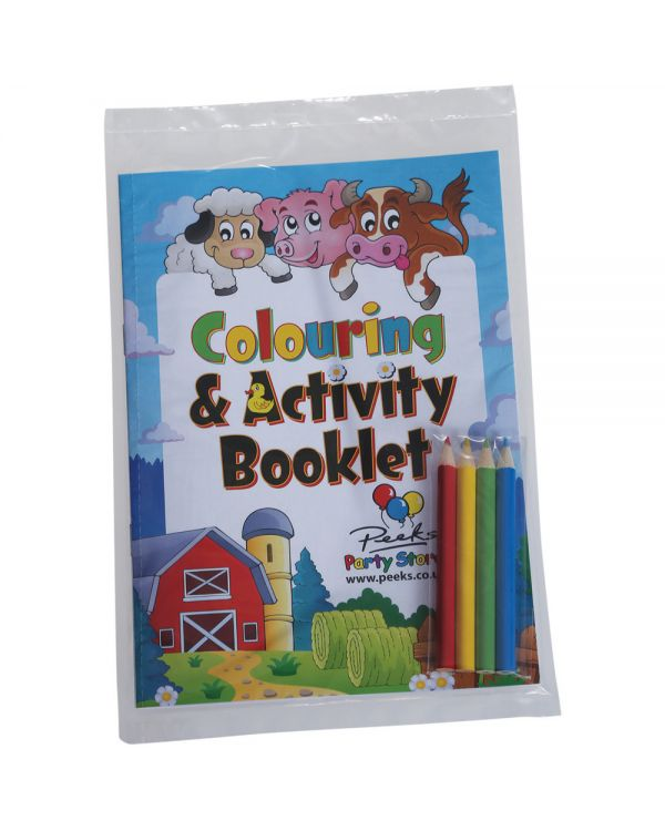 A5 8 Page Colouring Book + 4 pack of pencils