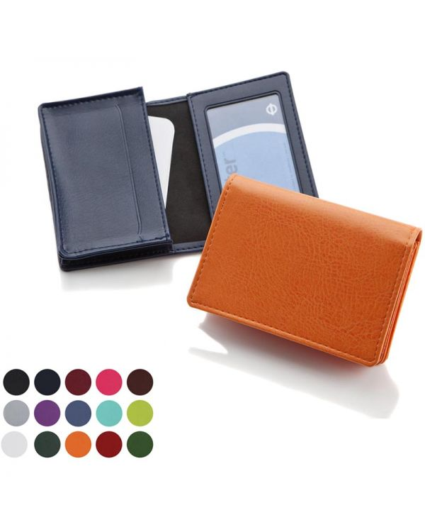Deluxe Business Card Dispenser With Framed Window Pocket, Finished In Belluno