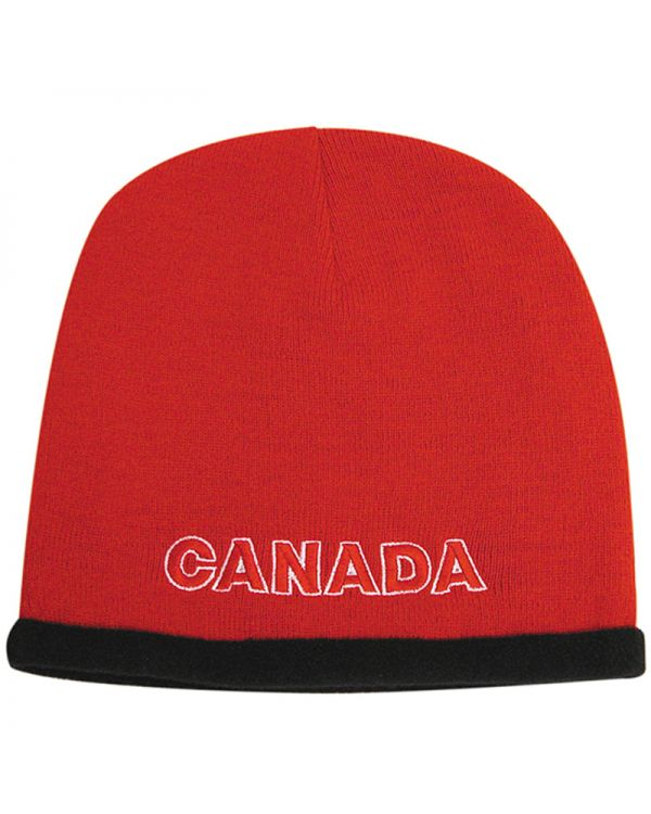 Roll Down Acrylic and Polar Fleece Beanie - Toque