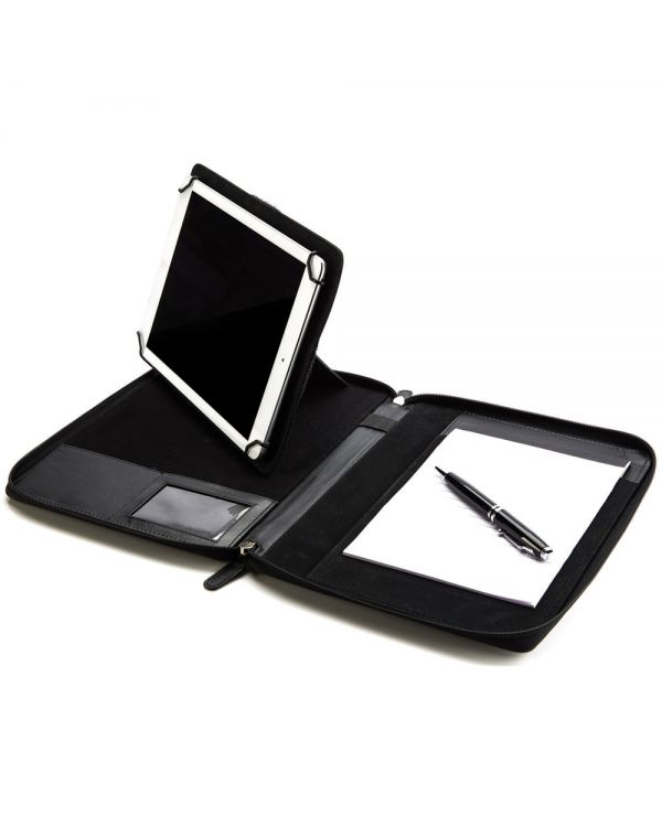 Sandringham Nappa Leather A5 Zipped Tablet Holder & Stand