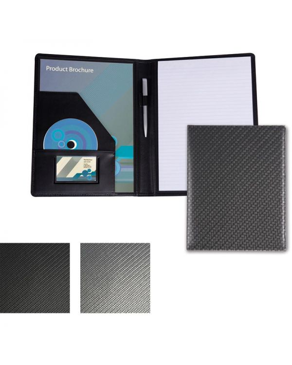Carbon Fibre Textured PU A4 Conference Folder
