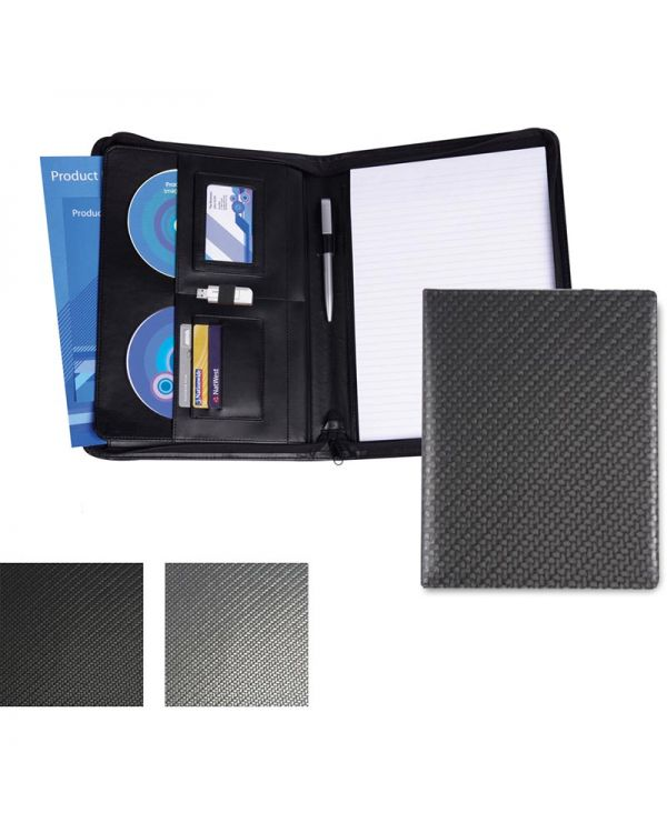 Carbon Fibre Textured PU A4 Deluxe Zipped Conference Folder