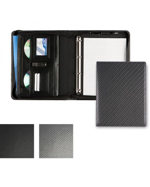 Carbon Fibre Textured PU Deluxe Zipped Ring Binder