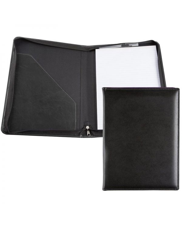 Recycled Leather A4 Zipped Conference Folder with Pocket