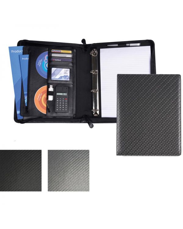 Carbon Fibre Textured PU Deluxe Zipped Ring Binder With Calculator
