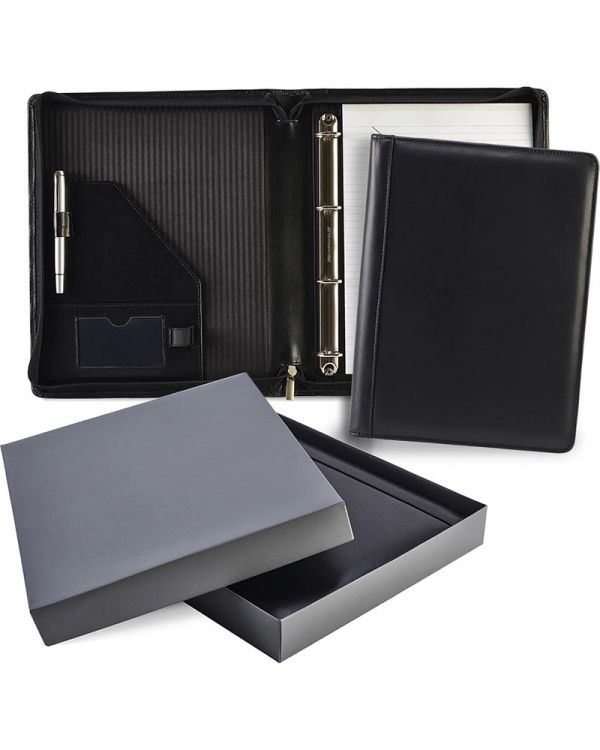 Ascot Leather Zipped Ring Binder