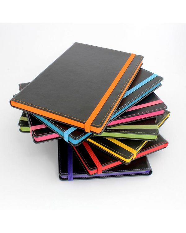 Accent A5 Notebook With A Black Cover, Contrast Colour Elastic Strap, Edge Stitch, Edge Stained Paper & Page Marker