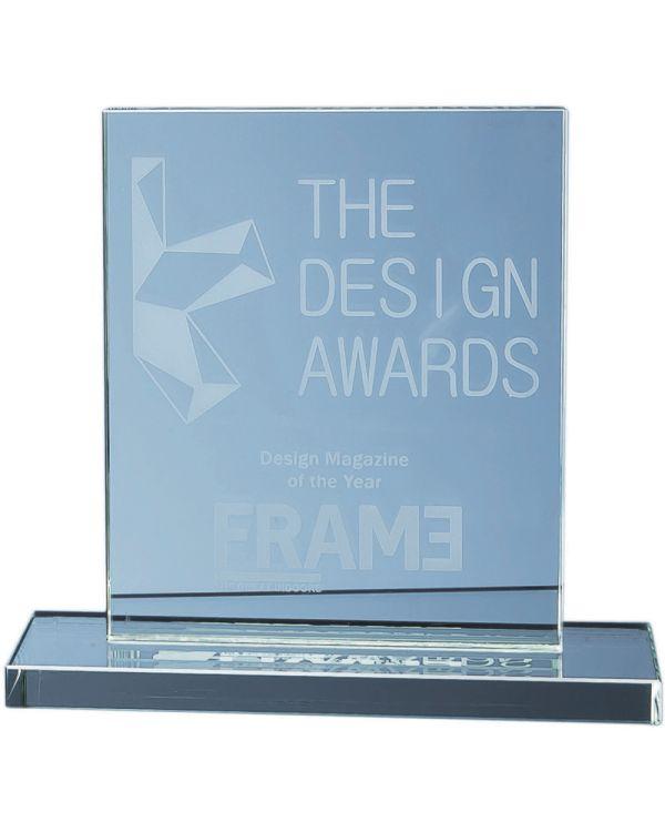15cm x 12.5cm Jade Glass Rectangle Award