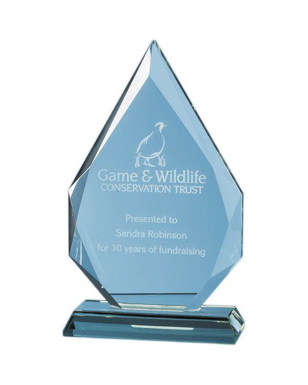 18.5cm x 19mm Jade Glass Facetted Diamond Peak Award