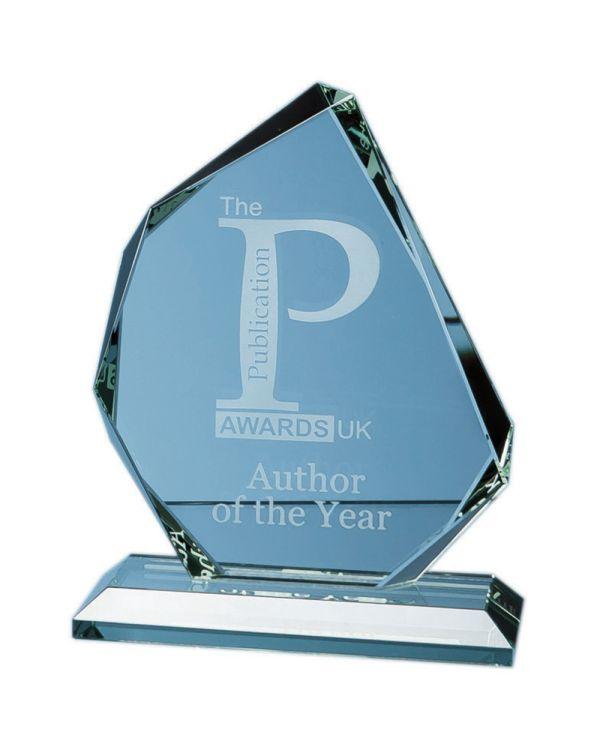 15cm x 15mm Jade Glass Facetted Ice Peak Award