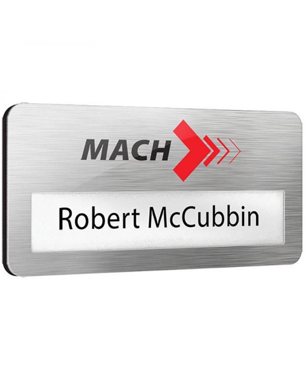 Metal Faced Reusable Name Window Badges