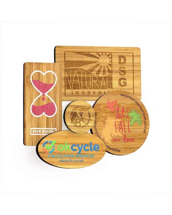 Bamboo Fridge Magnet With Full Colour Print Or Aser Engraving