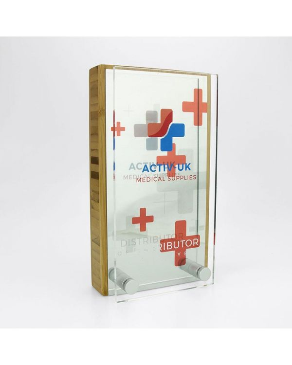 Bamboo 80mm x 150mm Block Award With Metal Plate And Acrylic Front Plate