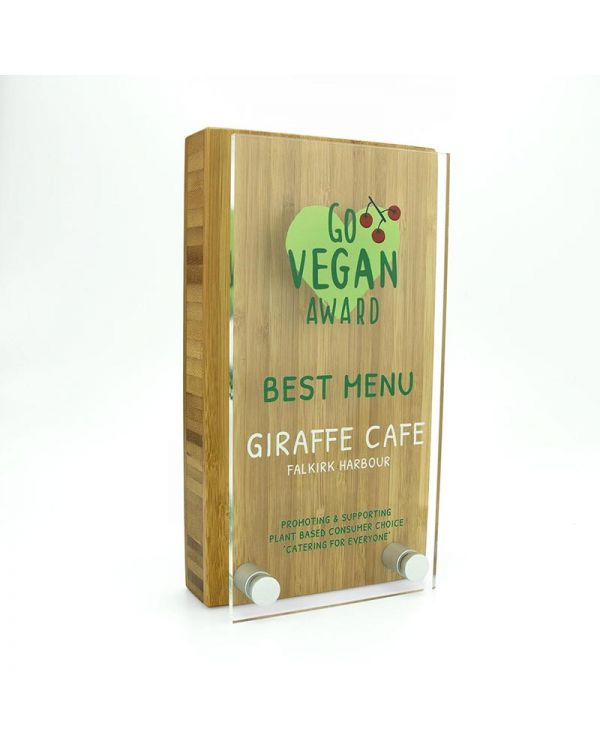 Bamboo 80mm x 150mm Block Award With Acrylic Front Plate