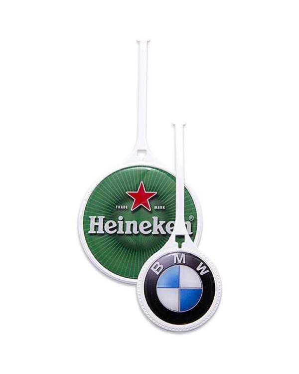 60mm White Plastic Flexi Golf Bag Tag
