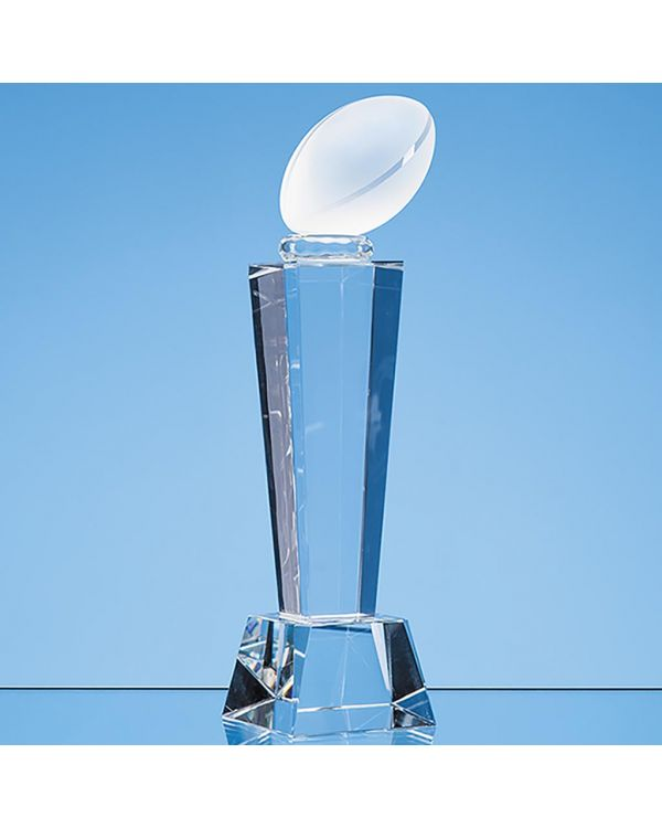 21cm Optical Crystal Rugby Ball Column Award