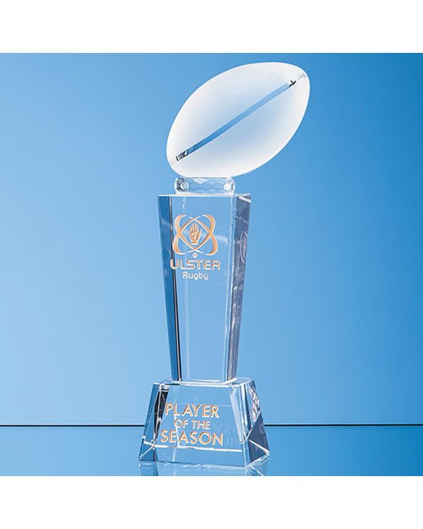24cm Optical Crystal Rugby Ball Column Award