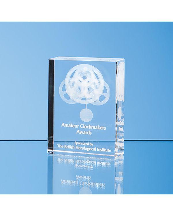 20cm x 11cm Optical Crystal Rectangle Award, H or V