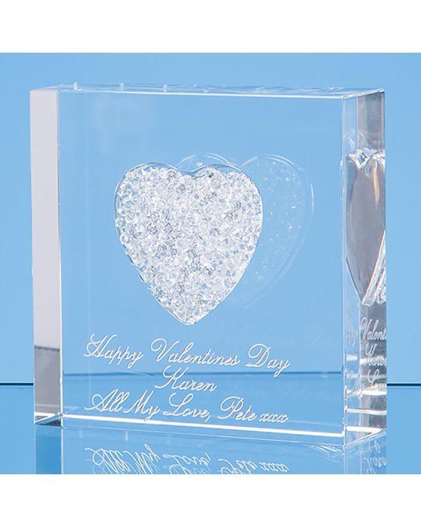 7.5cm White Diamante Heart Paperweight