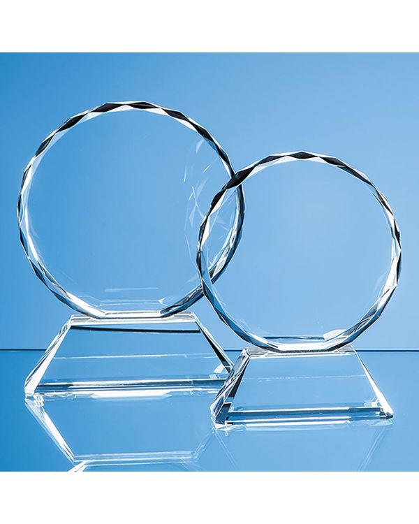 13cm Optical Crystal Mounted Facet Circle Award