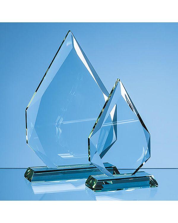 15cm x 10.5cm x 19mm Jade Glass Facetted Diamond Peak Award