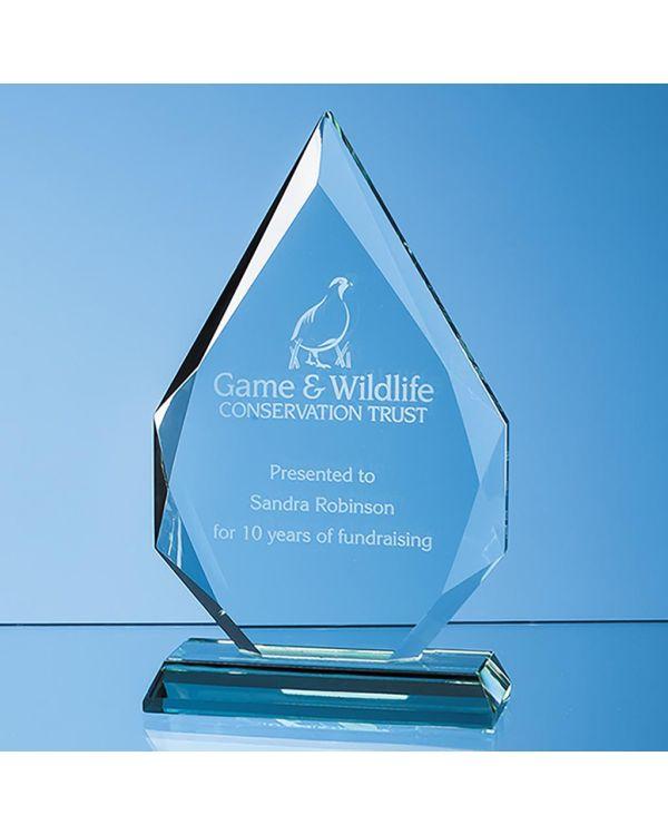 18.5cm x 12.5cm x 19mm Jade Glass Facetted Diamond Peak Award