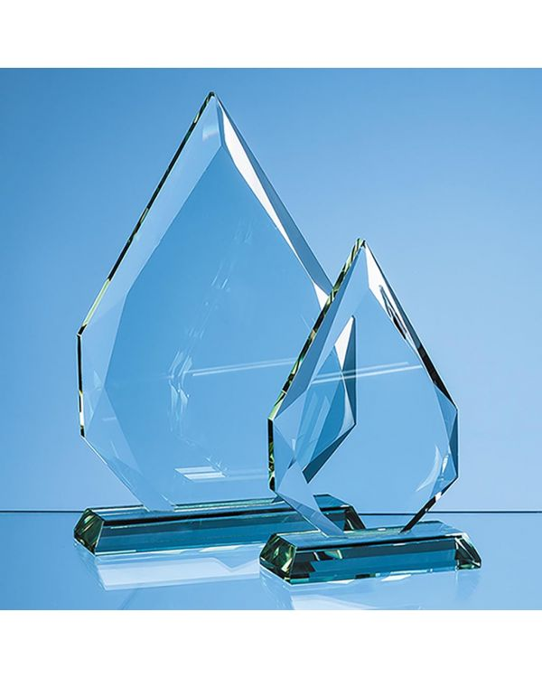 23cm x 16cm x 19mm Jade Glass Facetted Diamond Peak Award