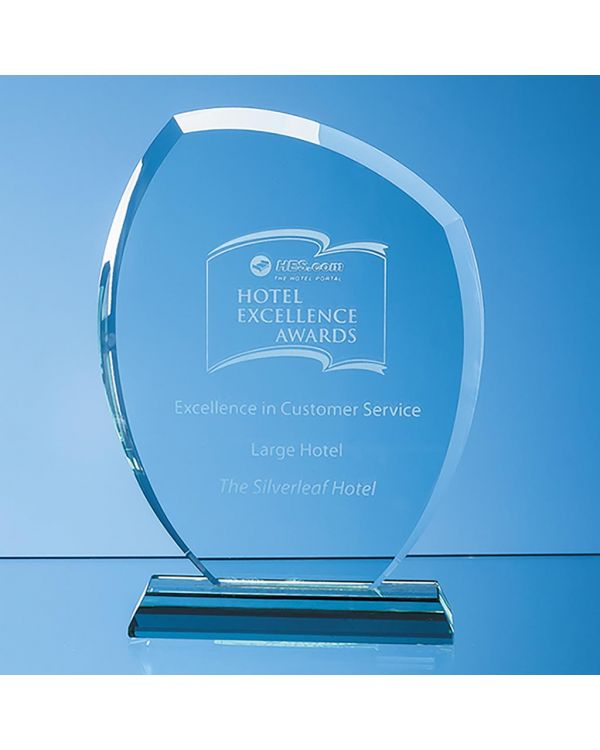 19.5cm x 15.5cm x 12mm Jade Glass Autumn Leaf Award
