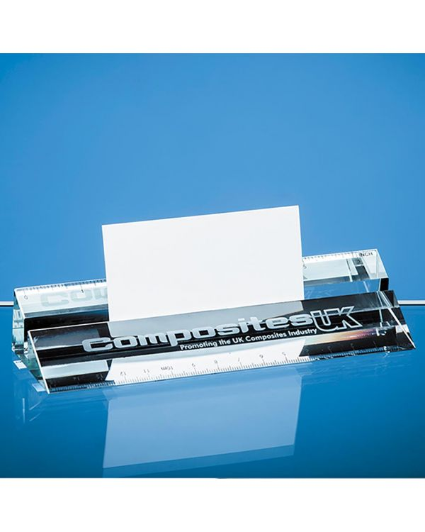 15cm Clear Glass Ruler and Business Card Holder