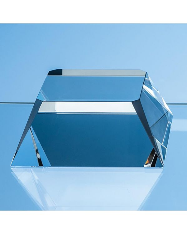 12.5cm Optical Crystal Square Base with Tapered Sides and Facet Corners
