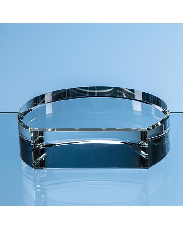 7.5cm x 3.5cm Optical Crystal Semi Circle Base with Flat Front