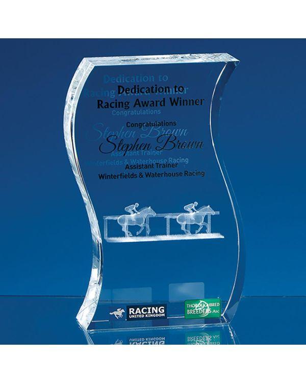 17.5cm Optical Crystal Freestanding Wave Award