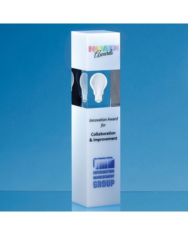 24cm Clear and White Optical Crystal Square Column Award