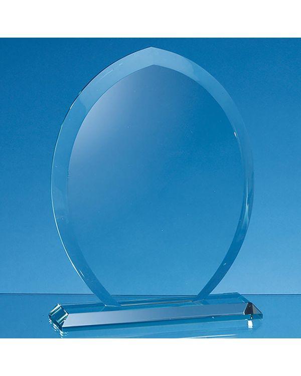 20cm x 16cm x 15mm Jade Glass Tear Drop Award