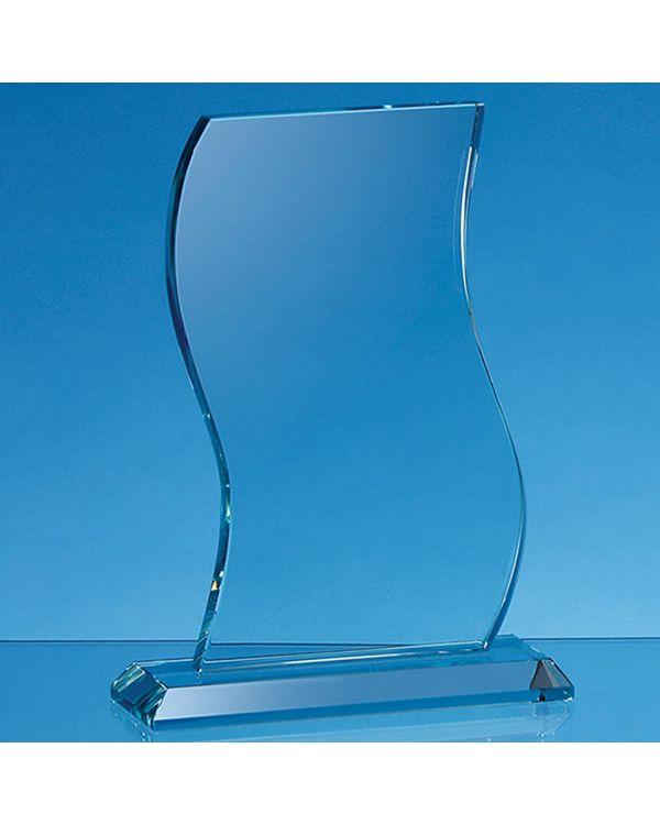 20.5cm x 13cm x 15mm Jade Glass Wave Award