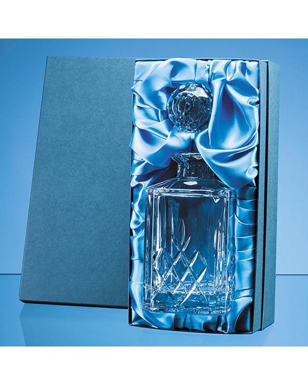 0.8ltr Blenheim Lead Crystal Full Cut Square Spirit Decanter Gift Set