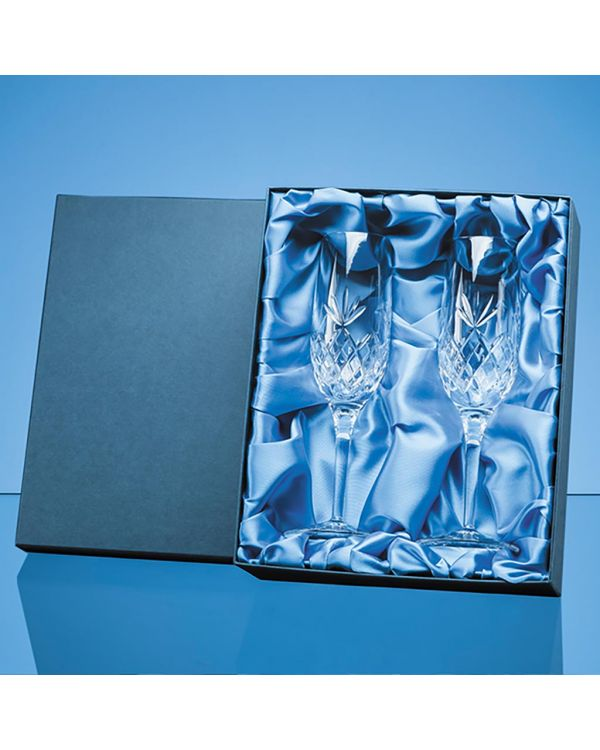 2pc 180ml Blenheim Lead Crystal Full Cut Champagne Flute Gift Set