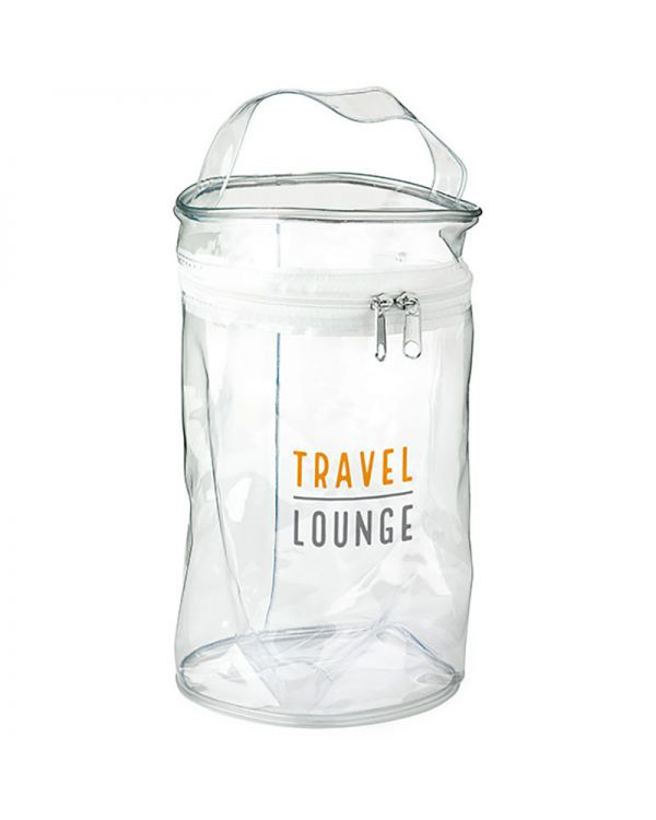 Clear PVC Round White Zippered Bag