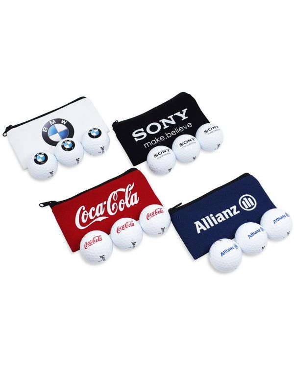 Cotton Canvas Printed Zipped Bag Containing 3 x Titleist Velocity Golf Balls