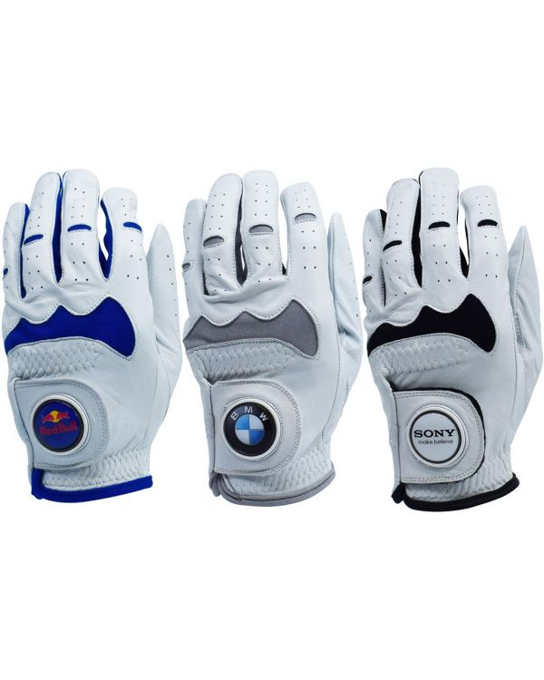 Hybrid Cabretta Leather Golf Glove With Your Logo On The 30mm Ball Marker